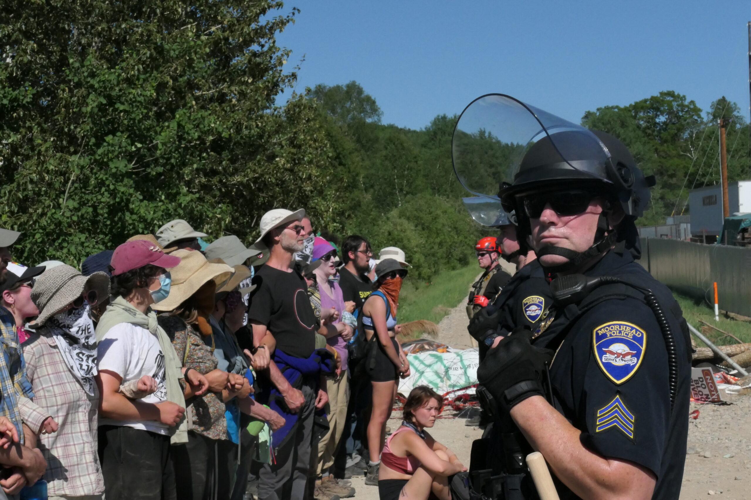 Demonstrators converge on Enbridge pipeline construction, dozens arrested